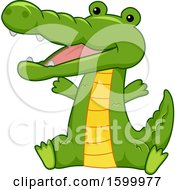 Clipart Of A Cute Sitting Crocodile Royalty Free Vector Illustration