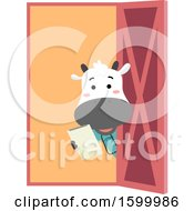 Poster, Art Print Of Livestock Veterinarian Cow Looking Around A Door