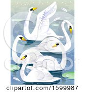 Clipart Of A Group Or Bevy Of Swans Royalty Free Vector Illustration