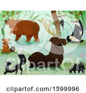 Poster, Art Print Of Forest With Wildlife