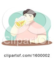 Clipart Of A Chubby Man Drinking Beer From A Mug Royalty Free Vector Illustration