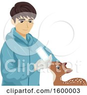 Clipart Of A Young Man Bottle Feeding A Rescued Baby Deer Royalty Free Vector Illustration