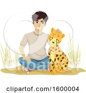 Clipart Of A Young Man Sitting With A Cheetah Royalty Free Vector Illustration