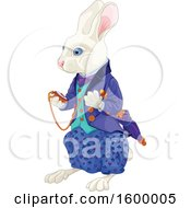 Clipart Of A White Rabbit Of Wonderland Looking At A Watch Royalty Free Vector Illustration