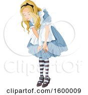 Clipart Of A Girl Alice Looking Down At Something Royalty Free Vector Illustration
