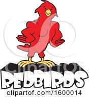 Clipart Of A Muscular Bird School Mascot Over Redbirds Text Royalty Free Vector Illustration