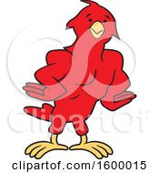 Clipart Of A Muscular Red Bird School Mascot Royalty Free Vector Illustration