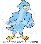 Muscular Blue Bird School Mascot