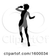 Clipart Of A Silhouetted Female Singer With A Reflection Or Shadow On A White Background Royalty Free Vector Illustration by AtStockIllustration