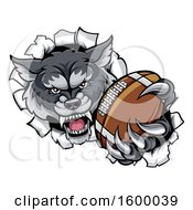 Tough Wolf Monster Mascot Holding Out A Football In One Clawed Paw And Breaking Through A Wall