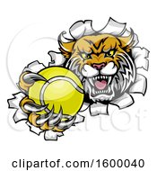 Clipart Of A Vicious Wildcat Mascot Breaking Through A Wall With A Tennis Ball Royalty Free Vector Illustration by AtStockIllustration