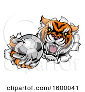 Poster, Art Print Of Vicious Tiger Mascot Breaking Through A Wall With A Soccer Ball