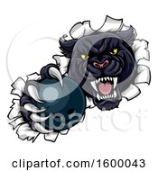Clipart Of A Black Panther Mascot Breaking Through A Wall With A Bowling Ball Royalty Free Vector Illustration by AtStockIllustration
