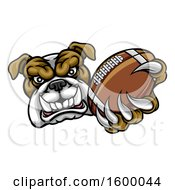 Tough Bulldog Monster Mascot Holding Out A Football In One Clawed Paw