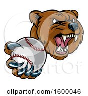 Mad Grizzly Bear Mascot Holding Out A Baseball In A Clawed Paw