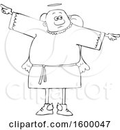 Clipart Of A Cartoon Lineart Black Male Angel Holding His Arms Out At His Sides Royalty Free Vector Illustration