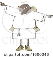 Poster, Art Print Of Cartoon Black Male Angel Holding His Arms Out At His Sides