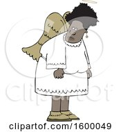 Clipart Of A Cartoon Black Female Angel Royalty Free Vector Illustration