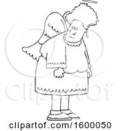 Clipart Of A Cartoon Lineart Black Female Angel Royalty Free Vector Illustration