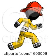 Black Firefighter Fireman Man Running Fast Right