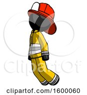 Black Firefighter Fireman Man Floating Through Air Left