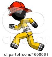 Black Firefighter Fireman Man Running Fast Left