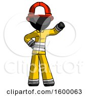 Black Firefighter Fireman Man Waving Left Arm With Hand On Hip