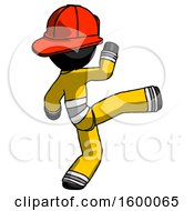 Black Firefighter Fireman Man Kick Pose