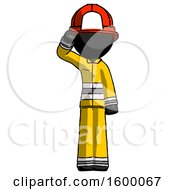 Black Firefighter Fireman Man Soldier Salute Pose