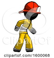 Black Firefighter Fireman Man Suspense Action Pose Facing Right