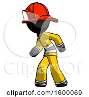 Black Firefighter Fireman Man Suspense Action Pose Facing Left
