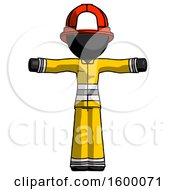 Black Firefighter Fireman Man T Pose Arms Up Standing