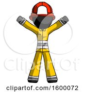 Black Firefighter Fireman Man Surprise Pose Arms And Legs Out