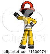 Black Firefighter Fireman Man Waving Right Arm With Hand On Hip