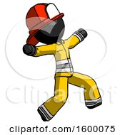 Black Firefighter Fireman Man Running Away In Hysterical Panic Direction Right