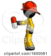 Black Firefighter Fireman Man Holding Red Pill Walking To Left
