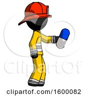 Black Firefighter Fireman Man Holding Blue Pill Walking To Right