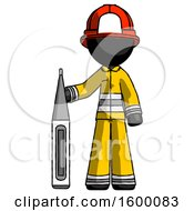 Black Firefighter Fireman Man Standing With Large Thermometer