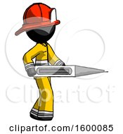 Black Firefighter Fireman Man Walking With Large Thermometer