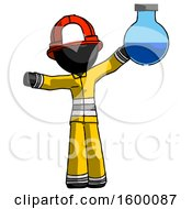 Black Firefighter Fireman Man Holding Large Round Flask Or Beaker