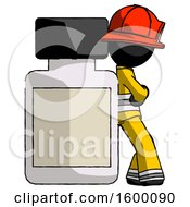 Black Firefighter Fireman Man Leaning Against Large Medicine Bottle
