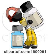 Black Firefighter Fireman Man Holding Large White Medicine Bottle With Bottle In Background