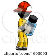Black Firefighter Fireman Man Holding Glass Medicine Bottle