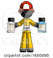 Black Firefighter Fireman Man Holding Two Medicine Bottles