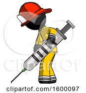 Black Firefighter Fireman Man Using Syringe Giving Injection