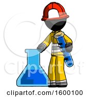 Black Firefighter Fireman Man Holding Test Tube Beside Beaker Or Flask