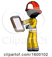 Black Firefighter Fireman Man Reviewing Stuff On Clipboard