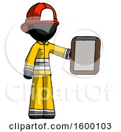 Black Firefighter Fireman Man Showing Clipboard To Viewer