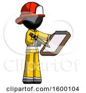 Black Firefighter Fireman Man Using Clipboard And Pencil