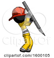 Black Firefighter Fireman Man Stabbing Or Cutting With Scalpel